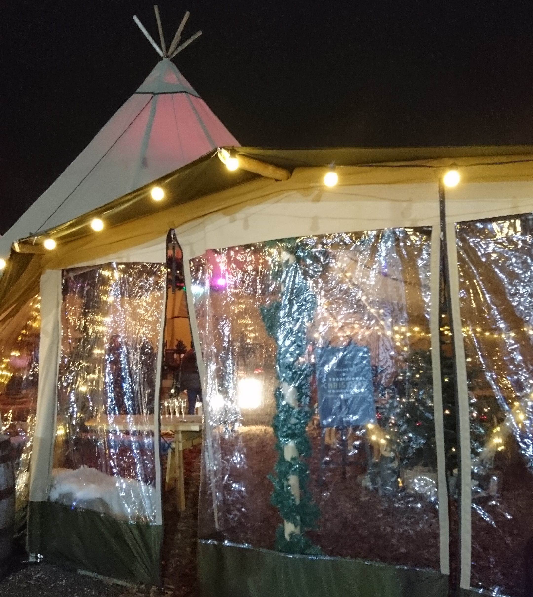 Clear entrance into the tipis at the Gloucester Quays Christmas Markets