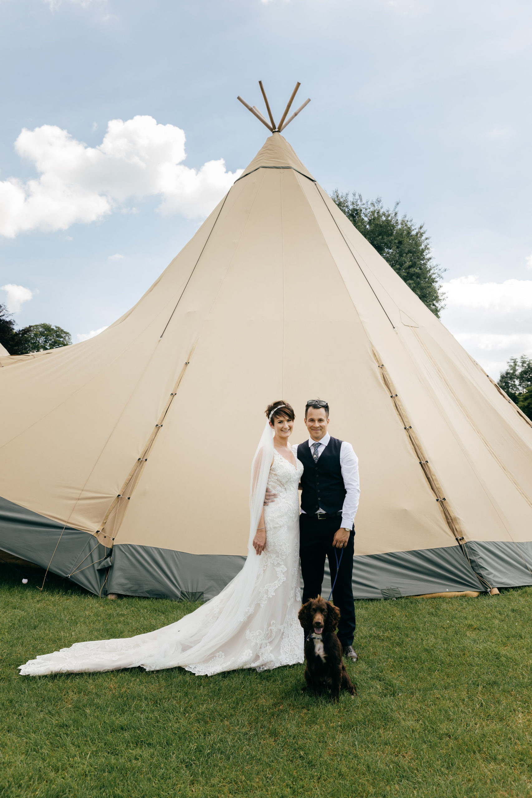 Happy couple Stacey and Hassan at Tipi Wedding