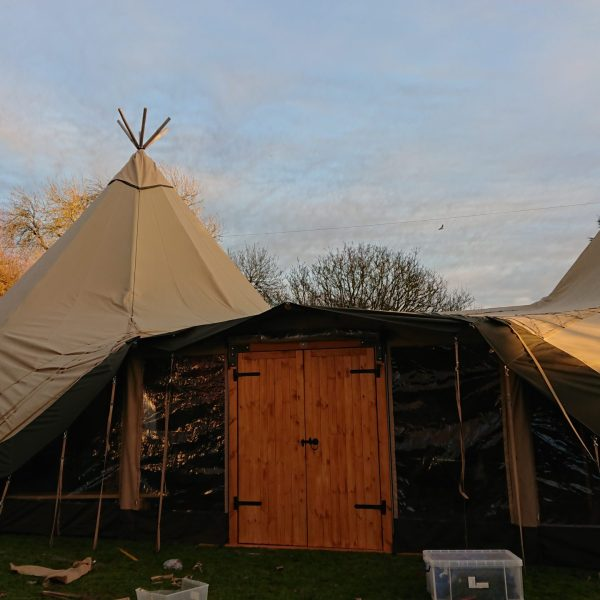 Cotswold Tipis wooden doors entrance with window panels