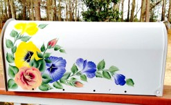 pansies and roses hand painted mailbox