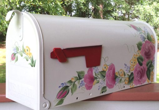 hand painted mailbox with roses
