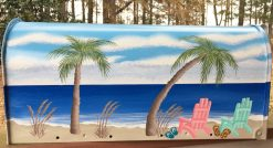 painted mailbox with beach scene