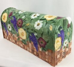 floral basket painted on a mailbox