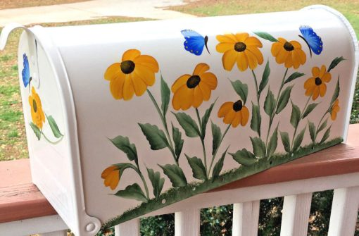 hand painted mailbox with black eyed susans and blue butterlies