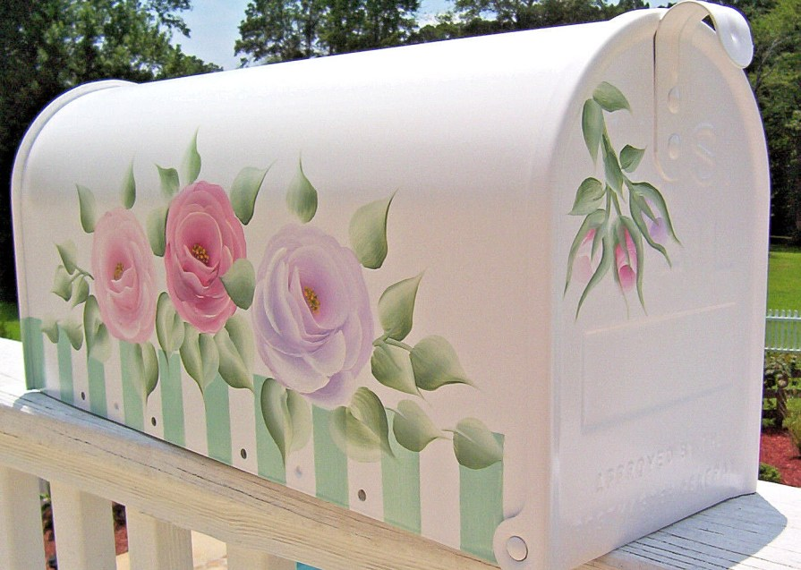 hand painted mailboxes roses