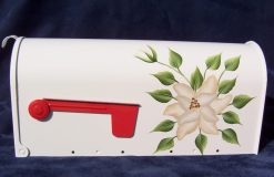 magnolia on white hand painted mailbox
