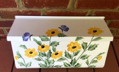 hand painted mailbox flowers wall mount