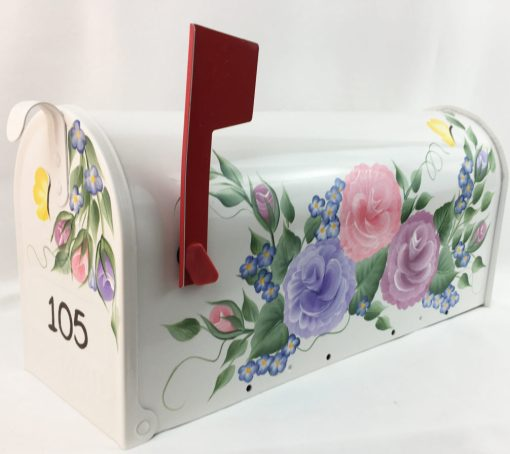 hand painted mailbox with color roses, flowers and butterflies