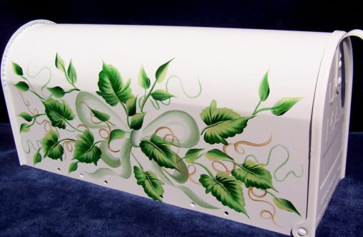 ivy and bow hand painted mailbox