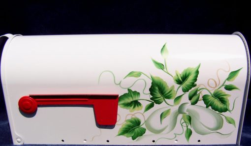 ivy and mint green bow hand painted mailbox