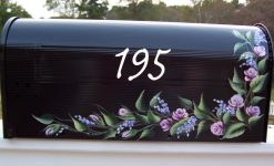 rosebuds on a vine painted mailbox