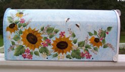 hand painted mailbox with sunflowers butterflies and bees