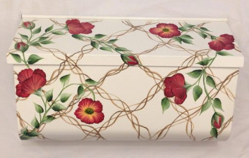 hand painted mailbox wild rose wall mount