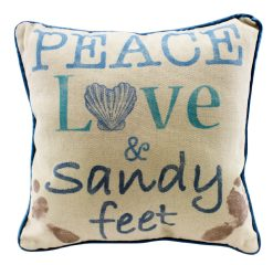 beach peace love and sandy feet pillow