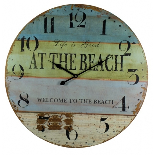 nautical wall clock reads, life is good at the beach and welcome to the beach