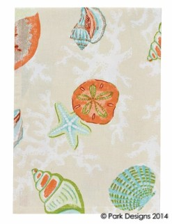 coral bay beach print kitchen towel