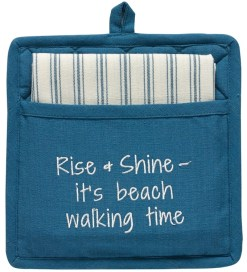nautical beach potholder set reads rise & shine it's beach walking time