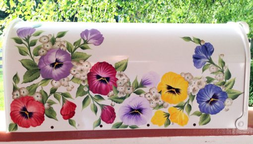 hand painted mailbox colorful pansies