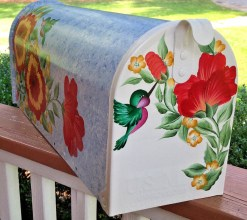 painted mailbox with hibiscus and hummingbird