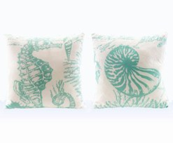 aqua teal and white sea life pillows