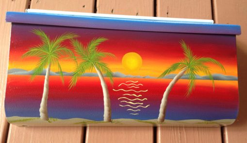 hand painted mailbox sunset palms