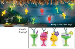 colorful tropical drinks string lights
