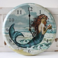 beautiful mermaid round wall clock