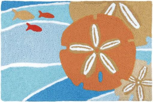 jellybean rug with tangerine sand dollars and tiny fish