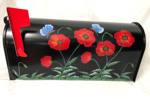 hand painted mailbox with red poppies flowers