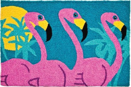 tropical flamingos jelly bean rug