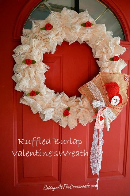 Ruffled Burlap Valentine's Wreath - Cottage at the Crossroads
