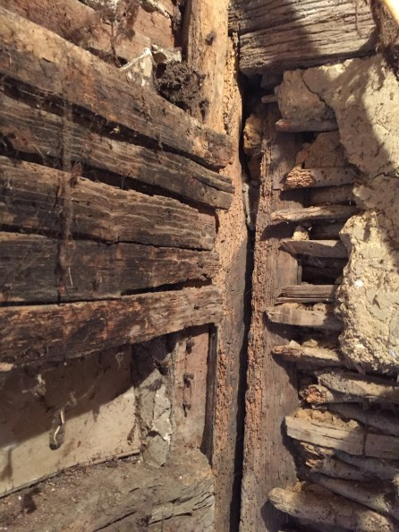 The outshot of No.3, awaiting restoration... Here a section of wattle can be seen, along with oak laths which have not had daub applied....
