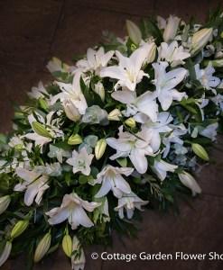 White Lily Casket Spray