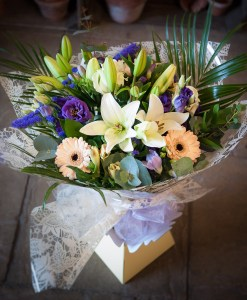 Cream & Blue Hand Tied