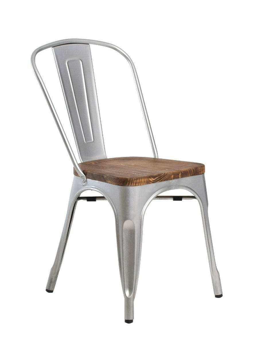 Metal Bistro Wood Seat Chair Silver
