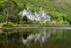 Kylemore Abbey in Connemara mountains