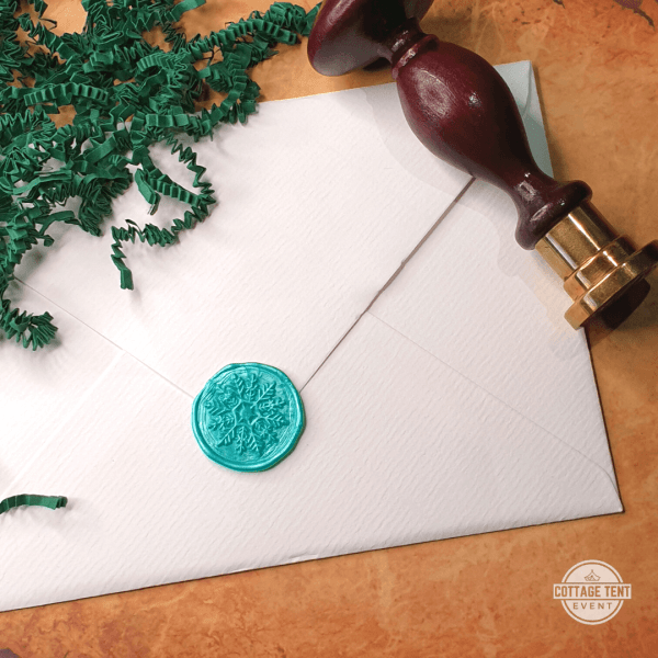 Wax Seal - snow crystal mint envelope