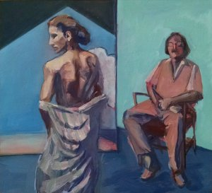 Painting from current art exhibit. One woman standing, back to viewer, one man seated, facing viewer