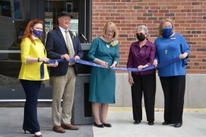 Officials cut the ribbon to dedicate the new Susan Bulkeley Butler Center for Campus Life