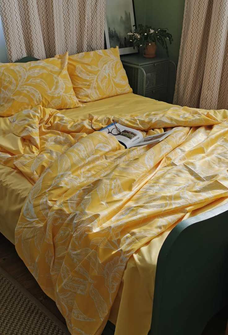 set de pat din bumbac galben