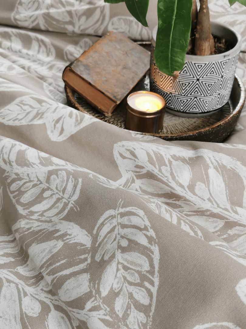 asternut de pat din in imprimat cu motive din natura2