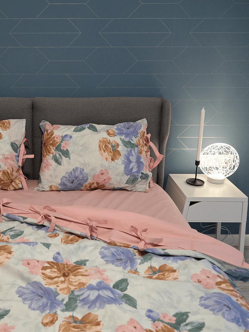 set de pat din bumbac cu motive florale2