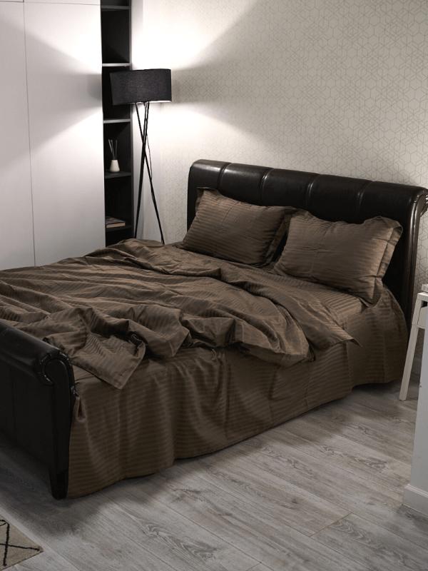 set de pat din bumbac damasc maro ciocolata2