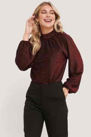 NA-KD Glitter High Neck sweater 1018-005392 red (1)