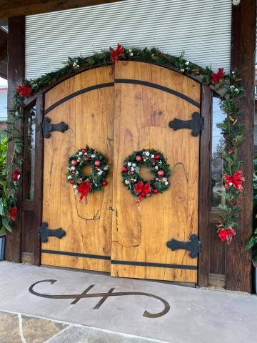 The front entrance at Cotton Gin No. 116 decorated for Christmas.