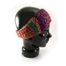 Side view of the knit headband-earwarmer in fall colors