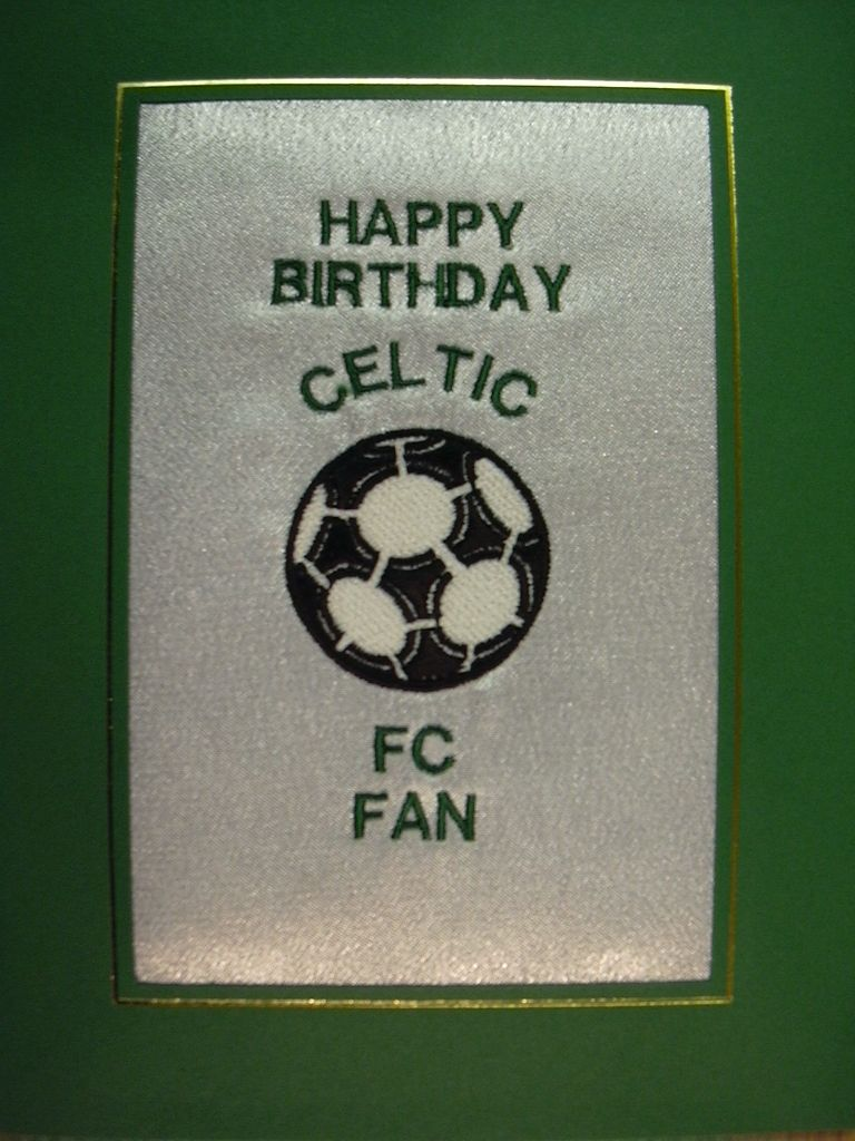 PERSONALISED EMBROIDERED CELTIC FC CARD FOOTBALL