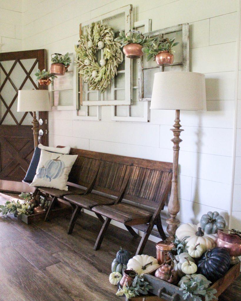 Farmhouse Fall Entryway Decor - Copper and Navy Blue ... on Farmhouse Curtains Ideas  id=73763