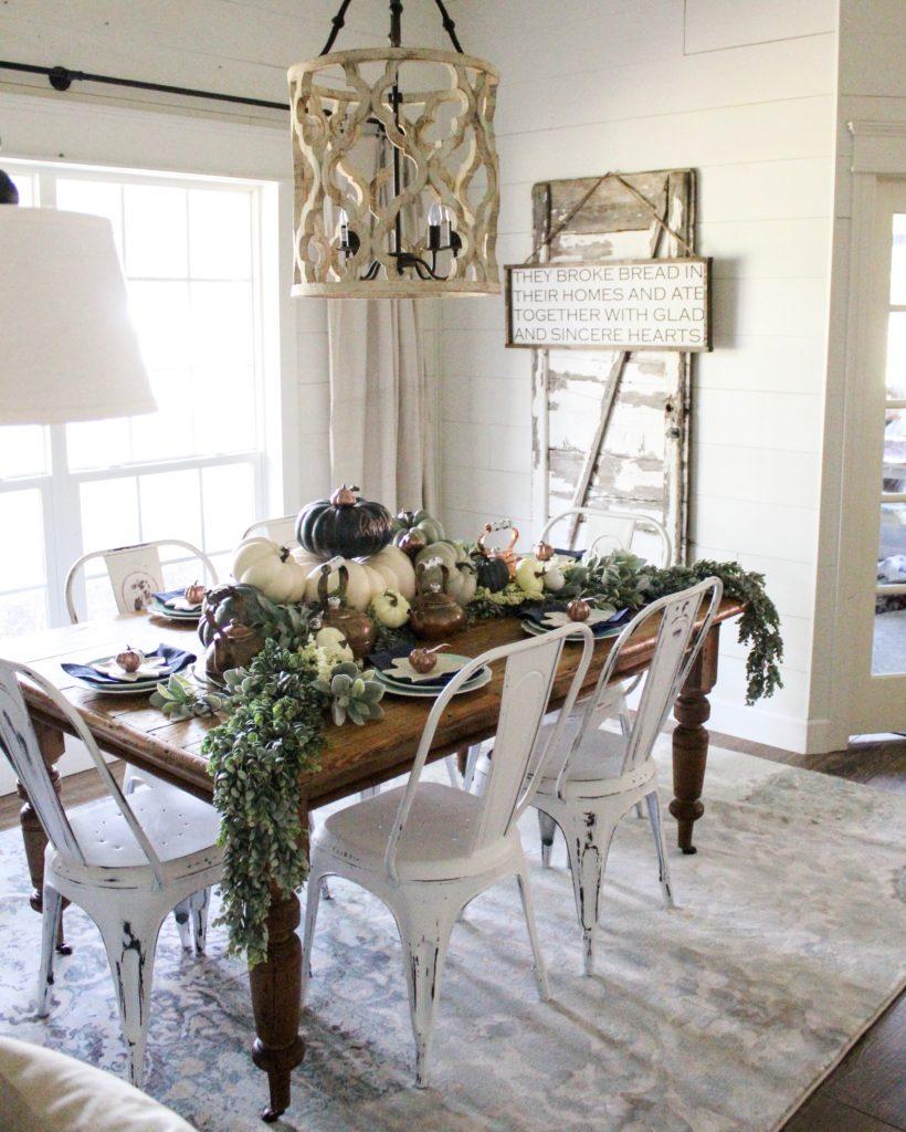 Farmhouse Fall Dining Room Decor - Navy and Copper ... on Farmhouse Dining Room Curtain Ideas  id=21883