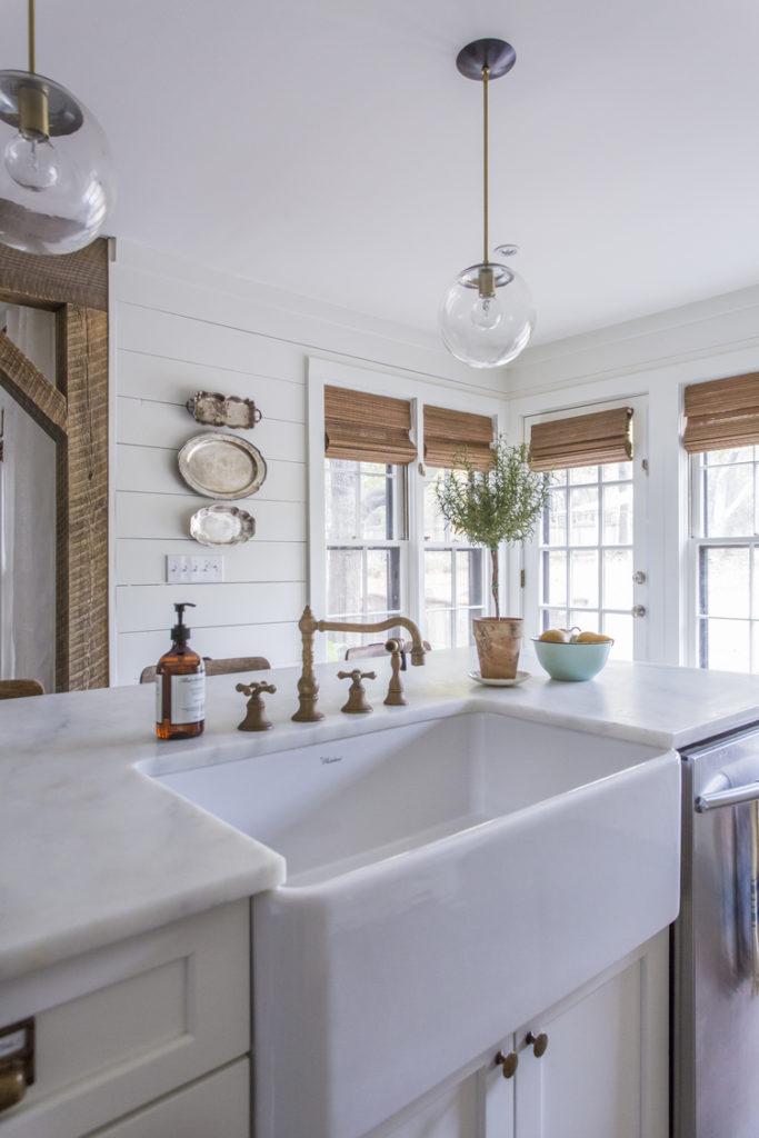 brass faucet for a farmhouse kitchen